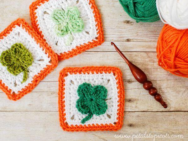 Crochet Clover Afghan Square Pattern