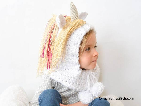 Toddler Magical Unicorn Crochet Hood Pattern