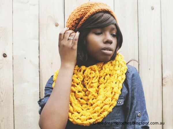 The Golden Crochet Drawstring Scarf