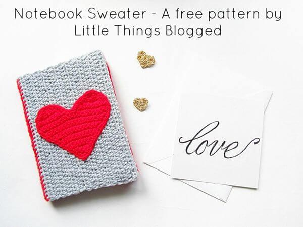 DIY Valentines Crochet Notebook Sweater