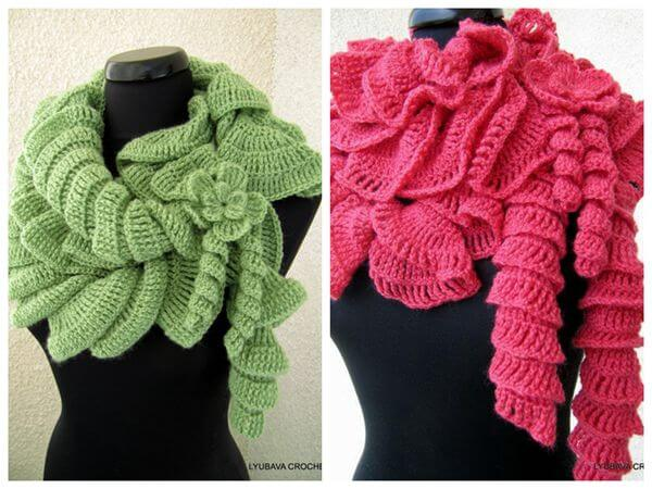 Ruffle Scarf With Flower Share a Pattern