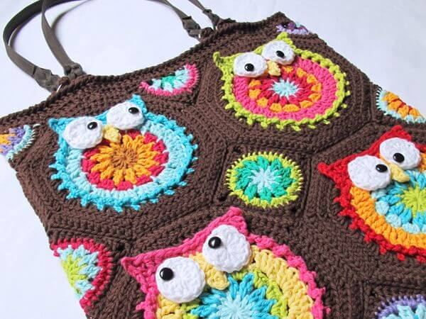 colorful owl crochet tote