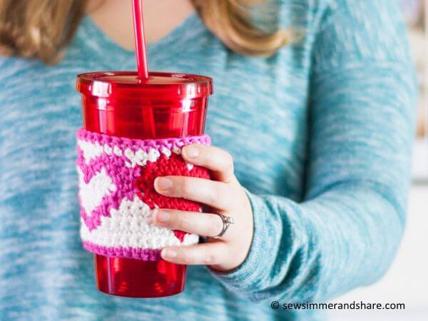 Tapestry Heart Cup Cozy