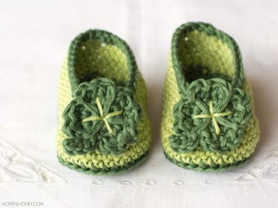St Patricks Day Shamrock Baby Booties