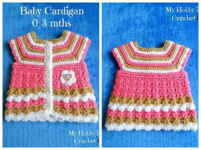 "Baby Cardigan ""Stripes and Bubbles"""
