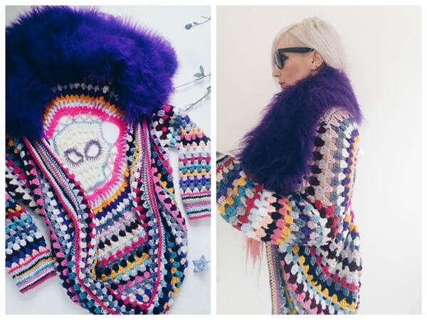 Freeform Crochet Sugar Skull Cocoon Cardigan