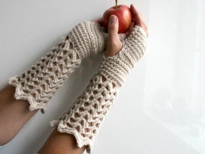 Crochet lace Fingerless Gloves