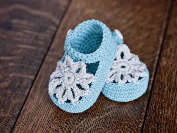 Mint Mary Janes Baby Booties