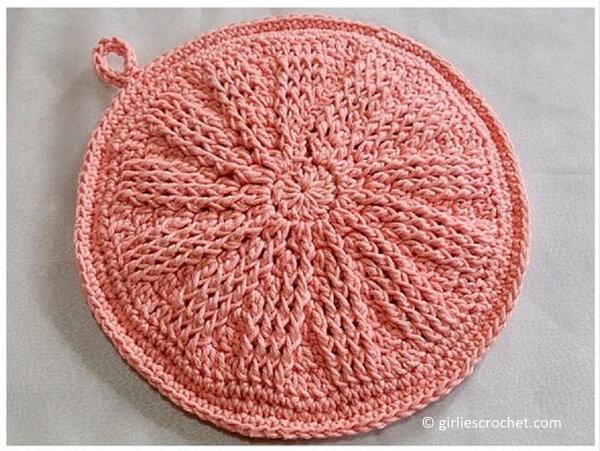 Peach Crochet Potholder