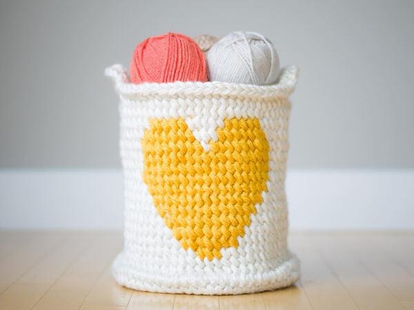 Crochet Heart Basket