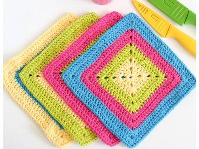 Colorful Solid Granny Square Dishcloth