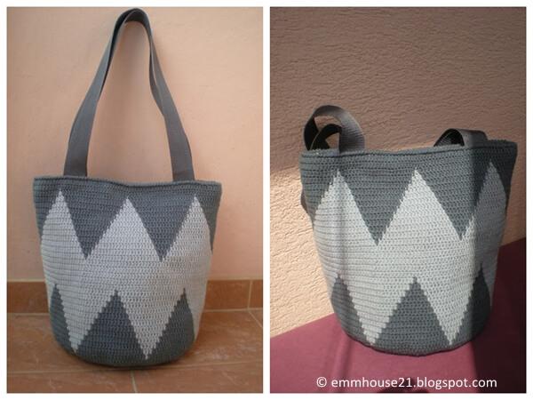Sharp tapestry crochet bag