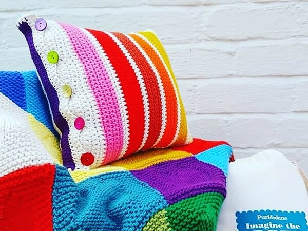 Rainbow Striped Cushion Cover