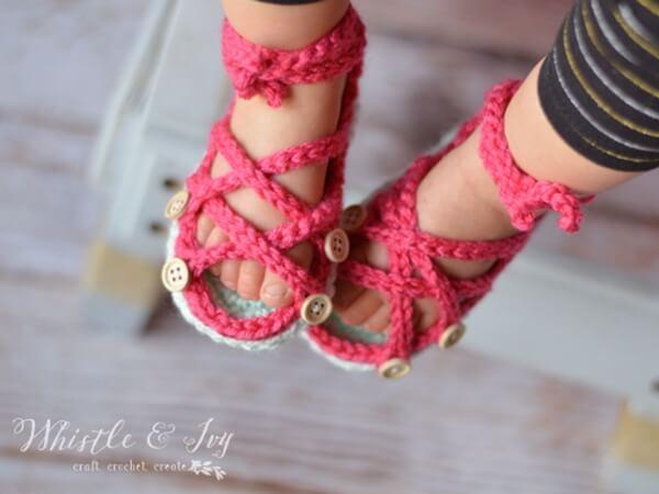 Button Gladiator Baby Sandals