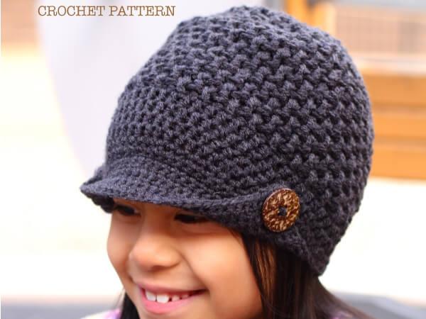 CROCHET PEAKED CAP