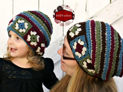 Granny Square Star Stitch Slouchy Hat