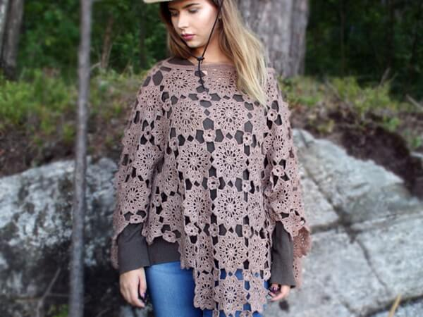 Crochet womens poncho pattern