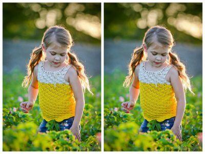 Girl's Yellow Cotton Crochet Shirt