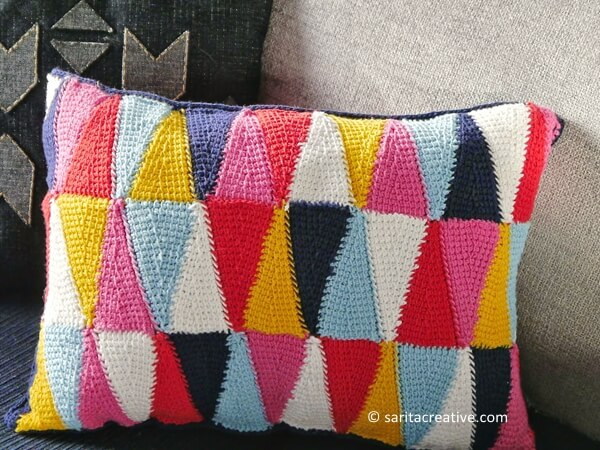HARLEQUIN CROCHETED CUSHION