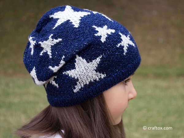 Slouchy Beanie with Stars