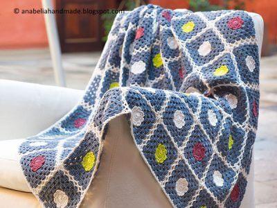 Nordic inspiration crochet sofa blanket