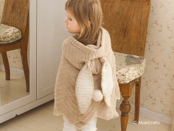 Crochet Poncho Bubbles with Bunny Ears