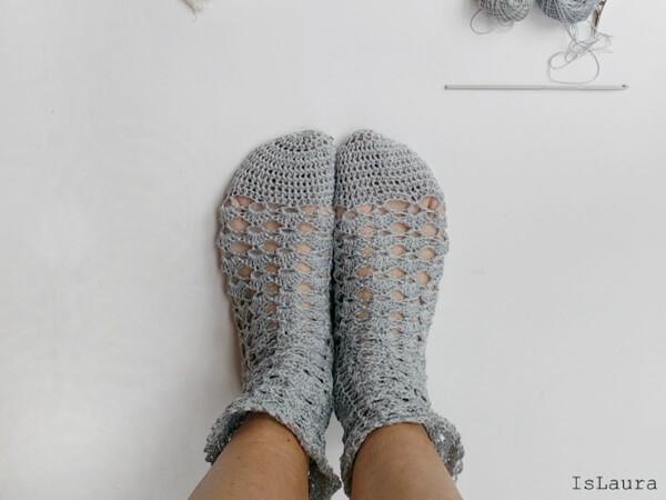 crochet cotton socks