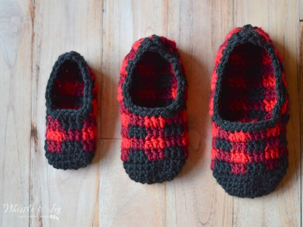 Crochet Plaid Slippers