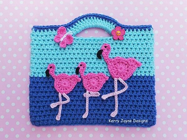 Dancing Flamingos Crochet Bag