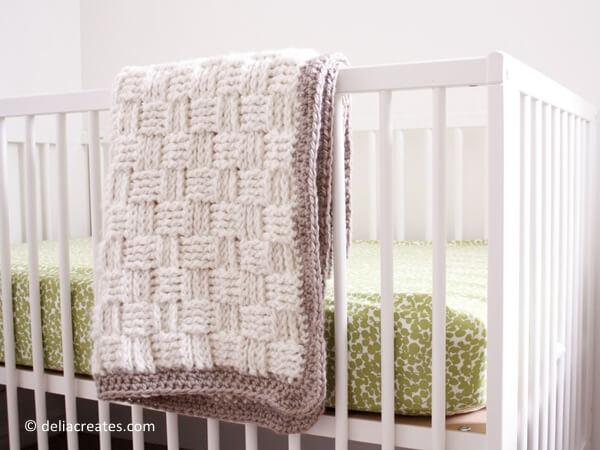 Basket Weave Crochet Baby Blanket