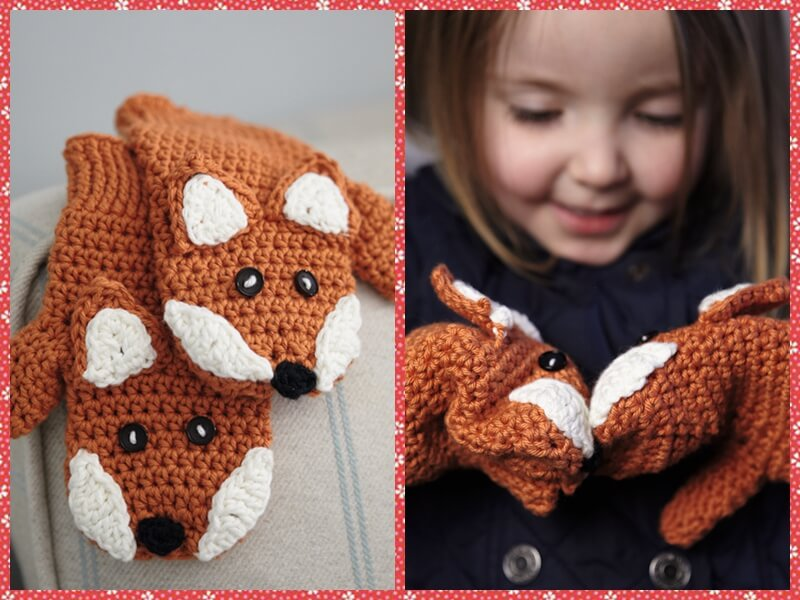 Crocheted Children's Fox Mittens