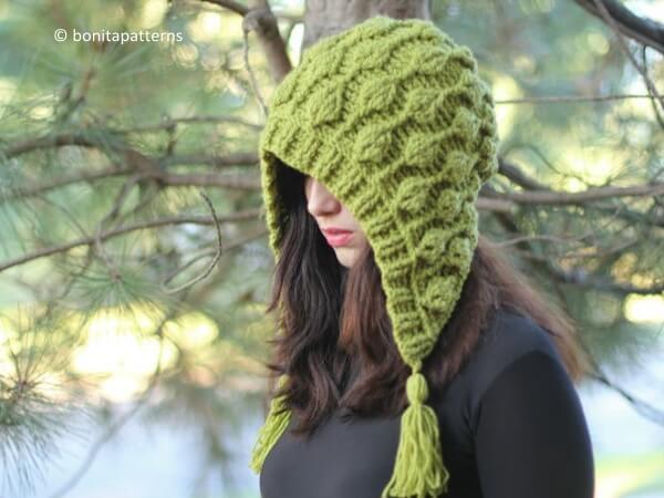 Embossed Leaves Hooded Hat