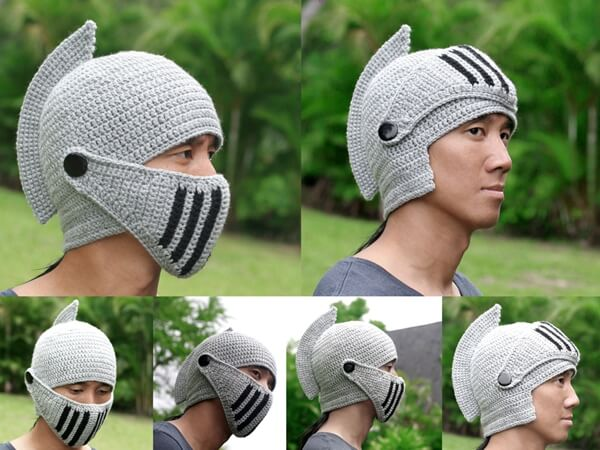 Knight Helmet Hat with Visor – Share a Pattern