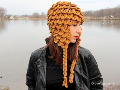 Crocodile Stitch Earflap Hat