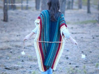 all the colors serape crocheted ruana