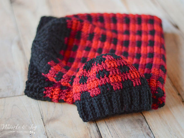Crochet Plaid Baby Cocoon and Hat set