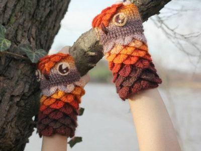 Crocodile Stitch Owl Gloves