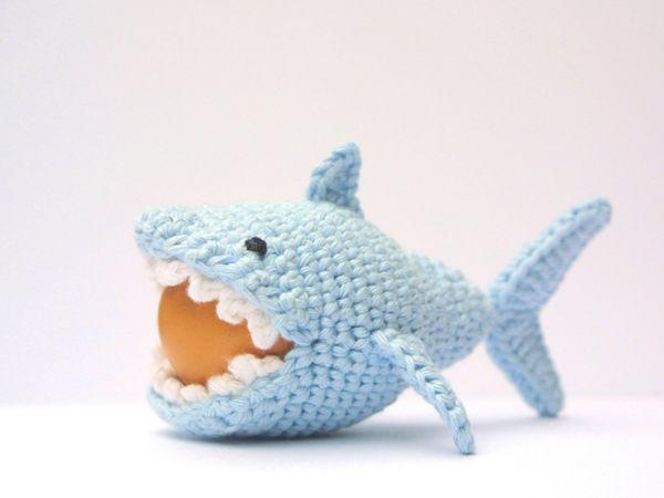 Crochet Shark Egg Cozy