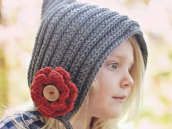Knit Look Bonnet Hood Pixie Ties Hat