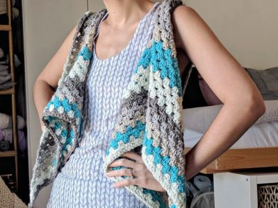 Striped Triangle Shawl-Vest