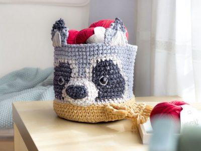 Tapestry Raccoon Basket