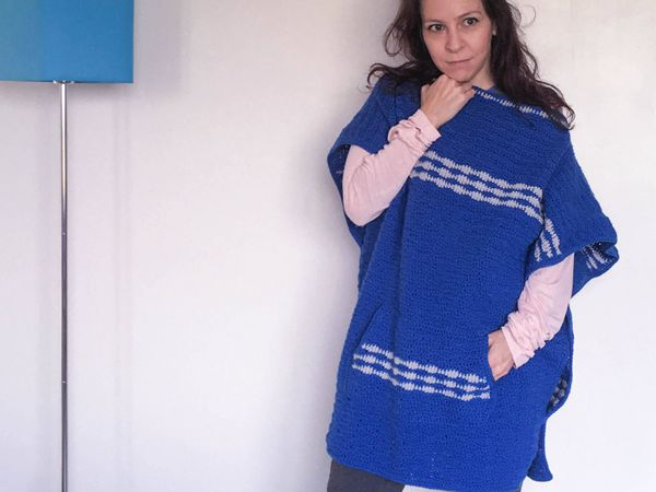 Up and Over Crochet Poncho with Pocke