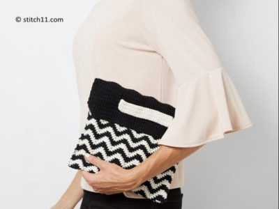 Chevron Wristlet Clutch Bag