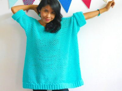 knit look oversize crochet sweater
