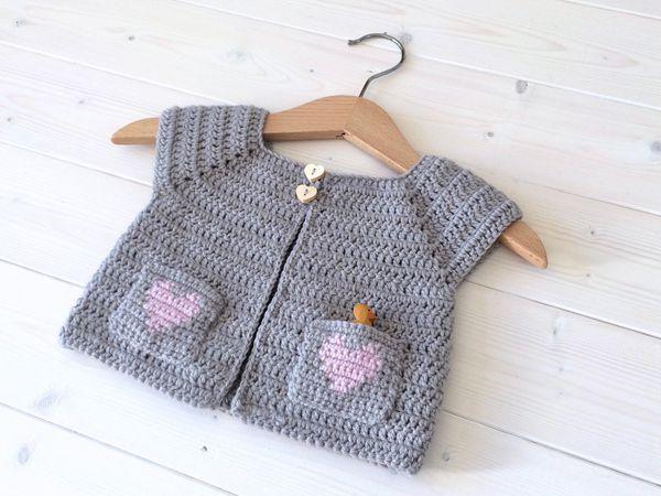Crochet Little Girl's Heart Pocket Cardigan