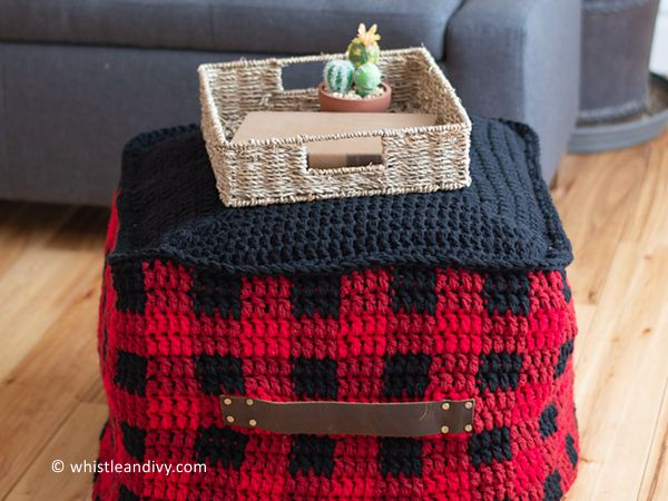 Plaid Floor Pouf