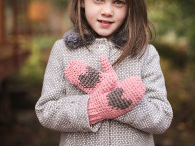 Heart Mittens for Kids