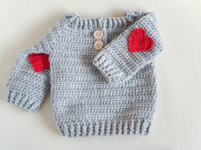 Baby Sweater With Red Heart