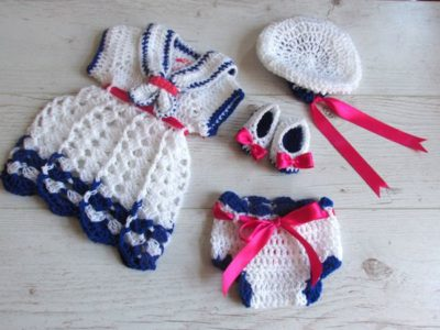 crochet baby sailor dress set