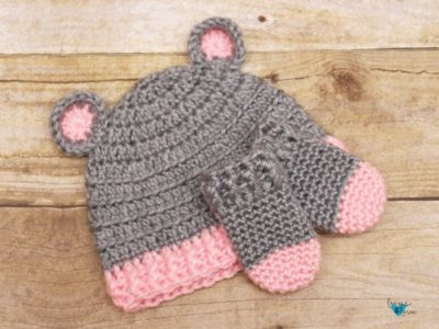 Crochet Baby Bear Hat and Mittens